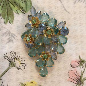 Gorgeous vintage large blue green vintage pin